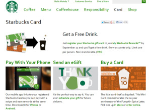 Screen Cap from Starbucks Card site on Sept 17 2013