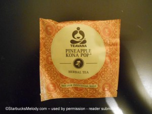 Teavana Pineapple Kona Pop individual tea bag - Atlanta test 9 Sep 2013