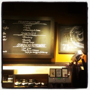 1st and Pike Starbucks - Chalkart and menu