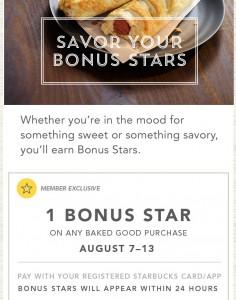 1 bonus star for bakery items
