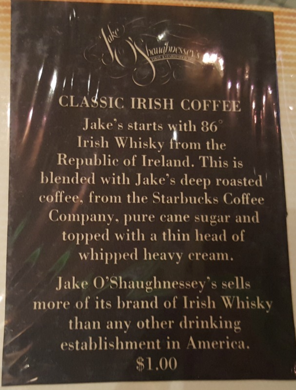 1 - 1 - 20160212_174533 orginial Jake O'Shaughnessy's Starbucks Irish Whiskey Coffee signage