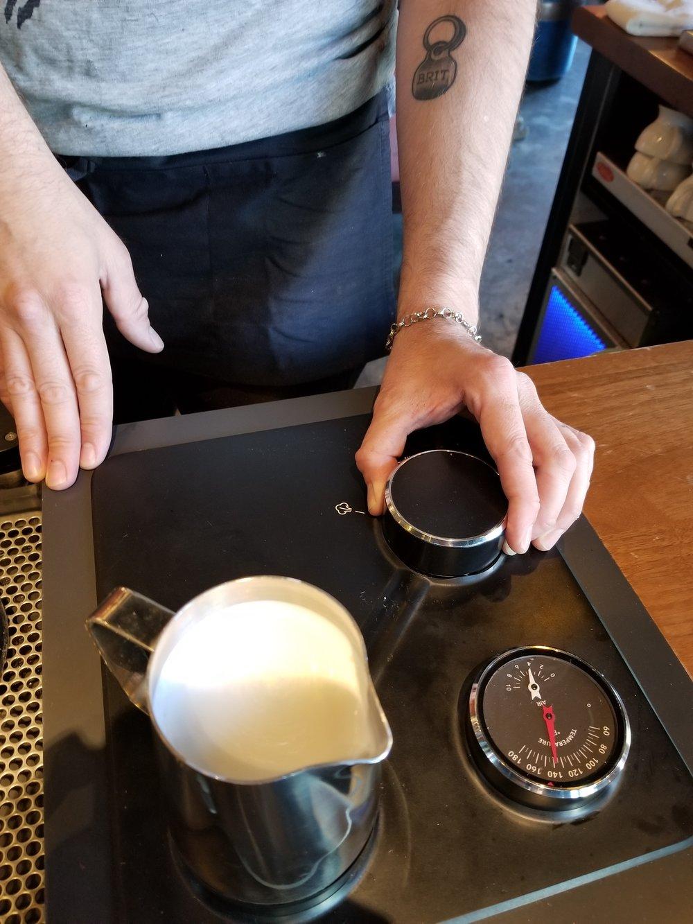 2017 July 08 Roy Street steaming milk 2.jpg