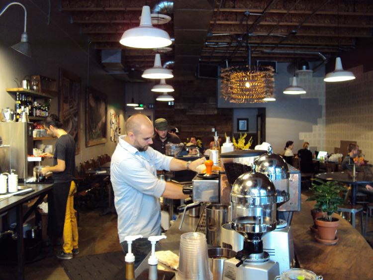 15th-Ave-Coffee-24Sept2009-smaller-3 at the La Marzocco espresso machine.jpg