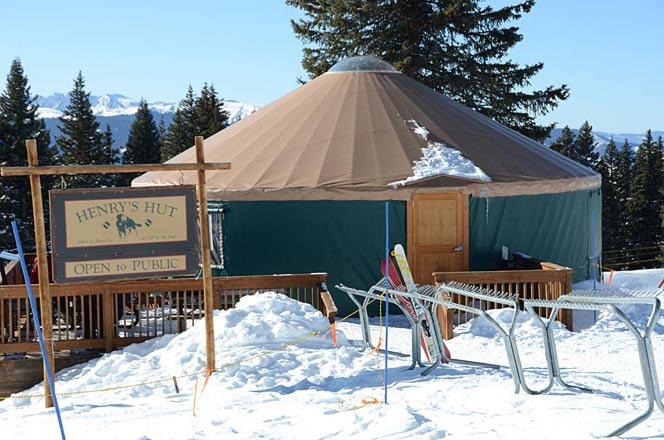Henry's Hut is a Popular Spot on Vail Mountain where you just might find Henry, ready to greet visitors.