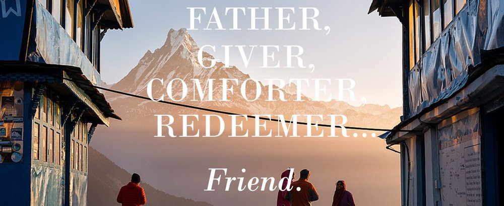 friends looking for Jesus standing in front of global mountain