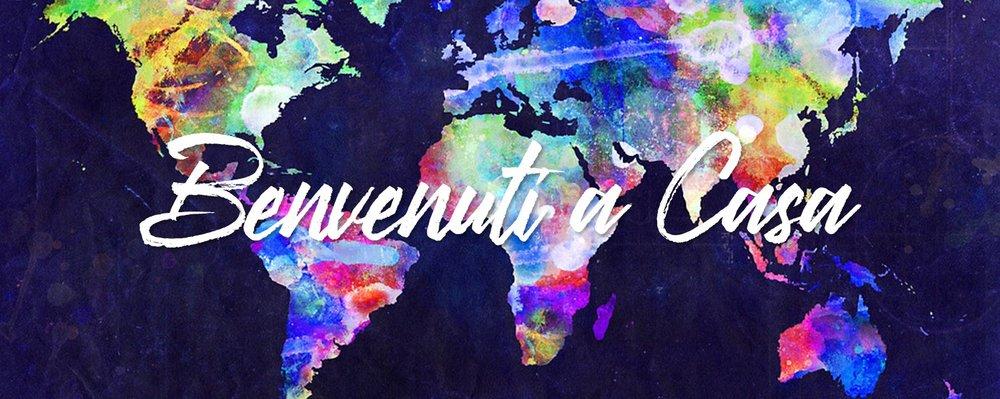 Mappa colorata in tutto il mondo di nazioni in tutto il mondo che dicono benvenuto a casa