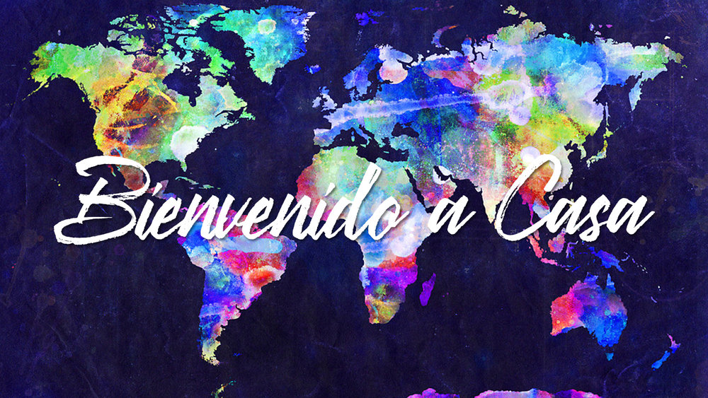 colorido mapa mundial de las naciones alrededor del mundo diciendo bienvenida a casa