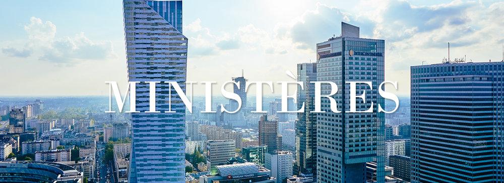 Construire des gratte-ciels dans une ville ensoleillée avec un lien vers les ministères