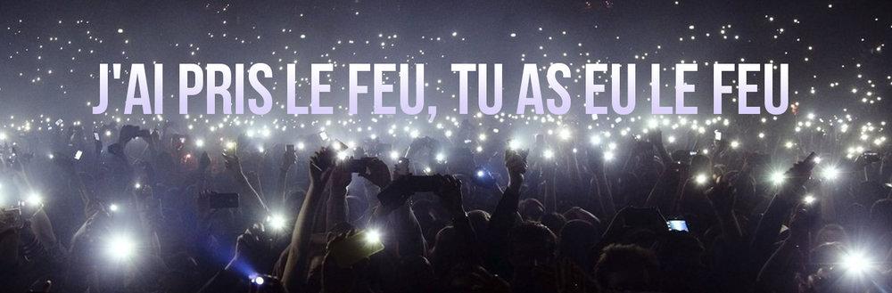Paroles de musique avec une grande foule lors d'une célébration de concert en utilisant une lampe de poche