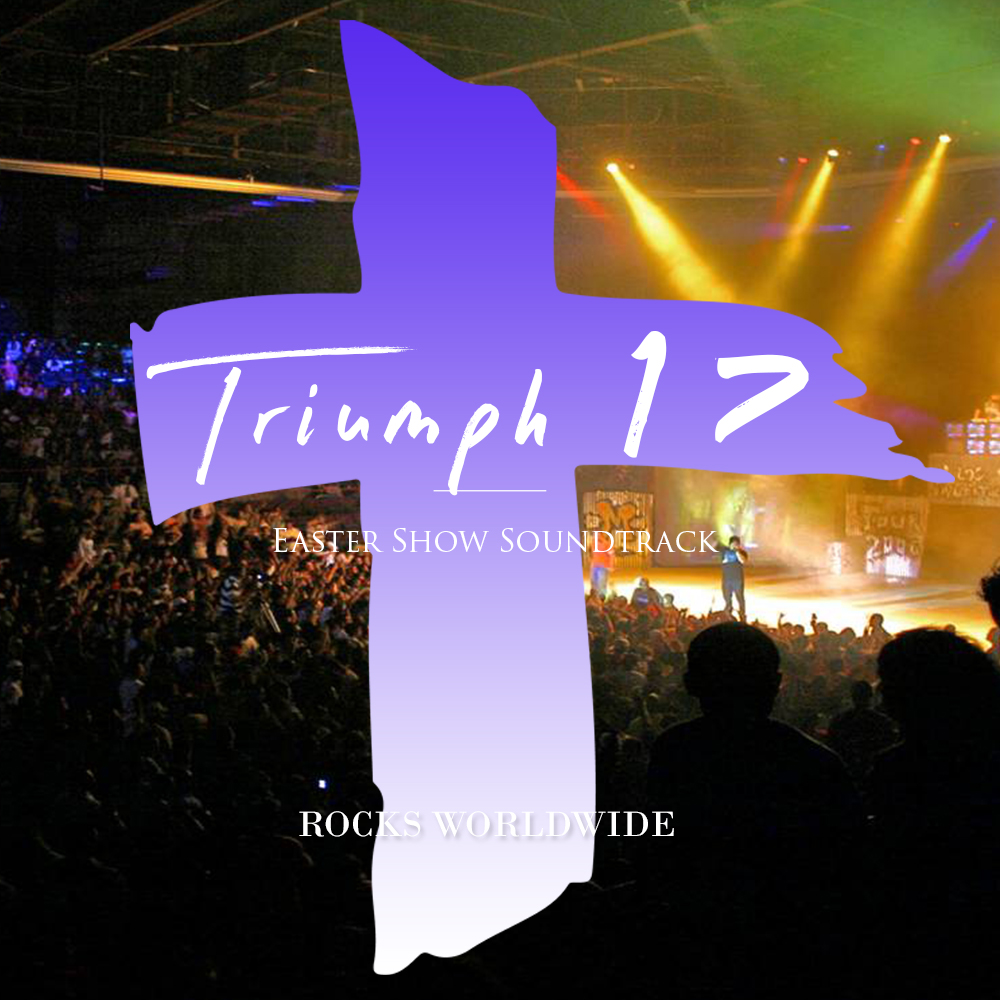 music album cover with cross and large crowd at concert