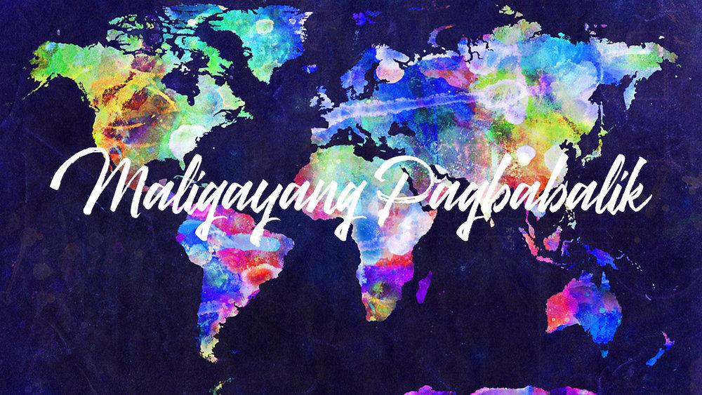 Makulay na pandaigdigang mapa ng mga bansa sa buong mundo na nagsasabing welcome home