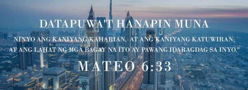 Ang international city skyline na paglubog ng araw ay naghahanap ng unang banal na kasulatan ng Diyos