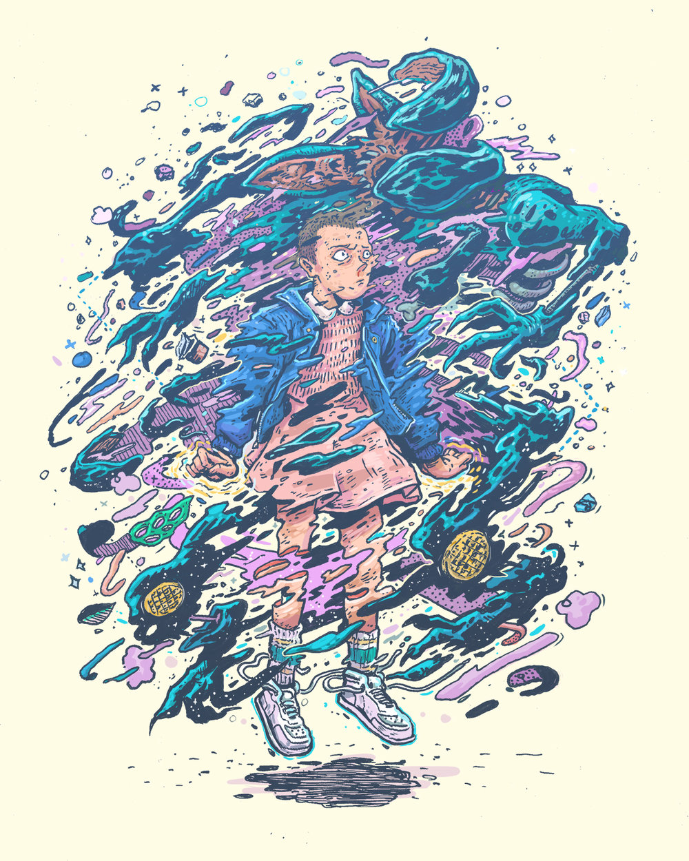 Eleven and the exploding demogorgon