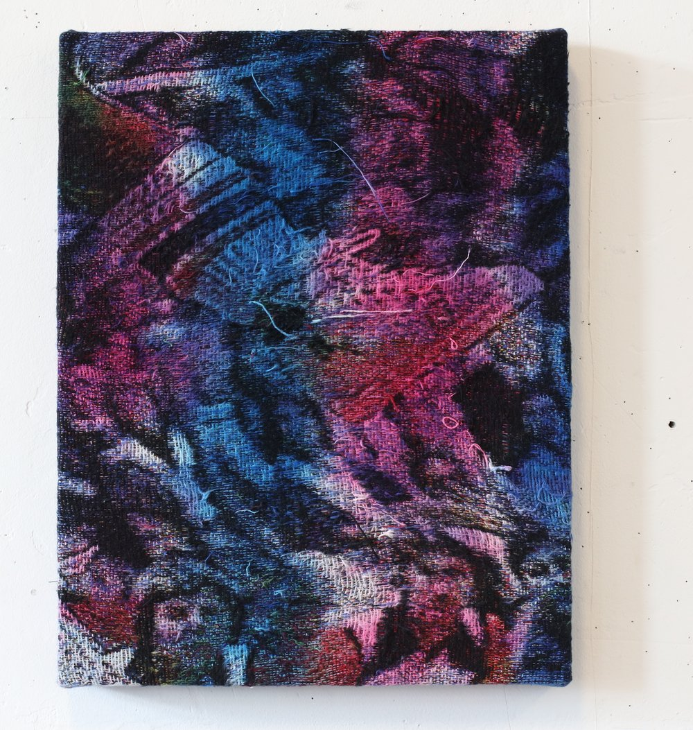 """Mini Ped , 18"""" x 15'"""", Dye on distressed, stretched Jacquard tapestry, 2017"""