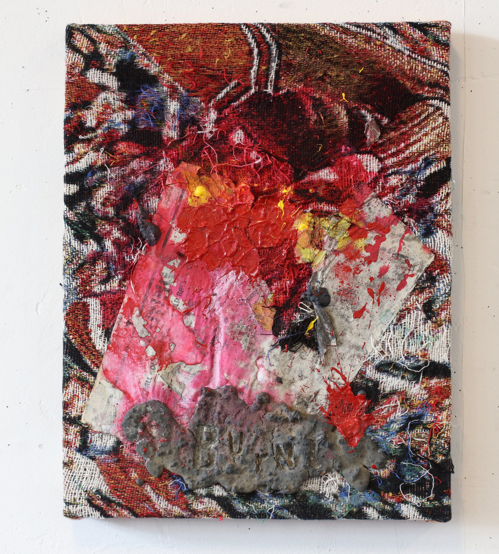 """Burnt , 18"""" x 15'"""", Collage on distressed, stretched Jacquard tapestry, 2017"""