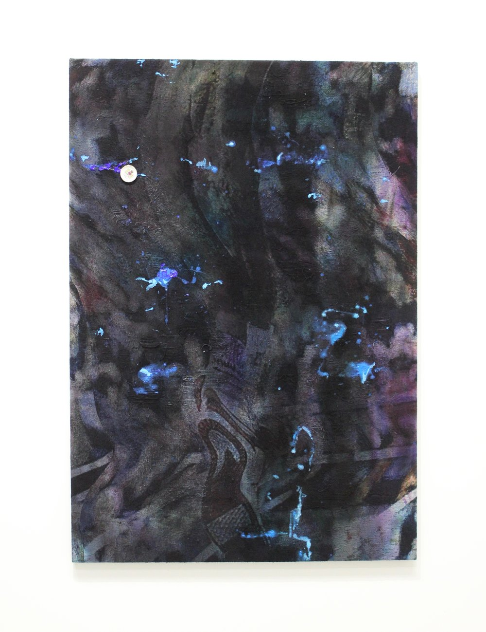 """Slither , 72""""x 52'"""", Dye, acrylic, plate on distressed, stretched Jacquard tapestry, 2017"""