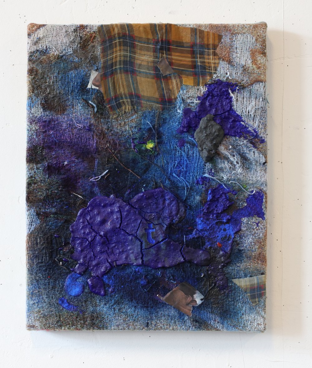 """Souvenir , 18"""" x 15'"""", Collage on distressed, stretched Jacquard tapestry, 2017"""