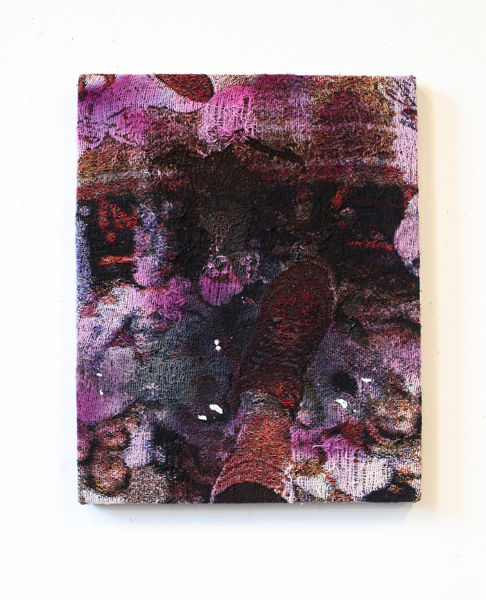 """Untitled , 18"""" x 15'"""", Dye and acrylic on distressed, stretched Jacquard tapestry, 2017"""