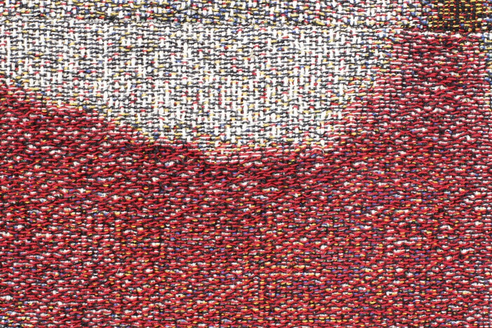 "La Radio  (close-up), 108"" x 156"", Distressed, stretched Jacquard tapestry, 2017"