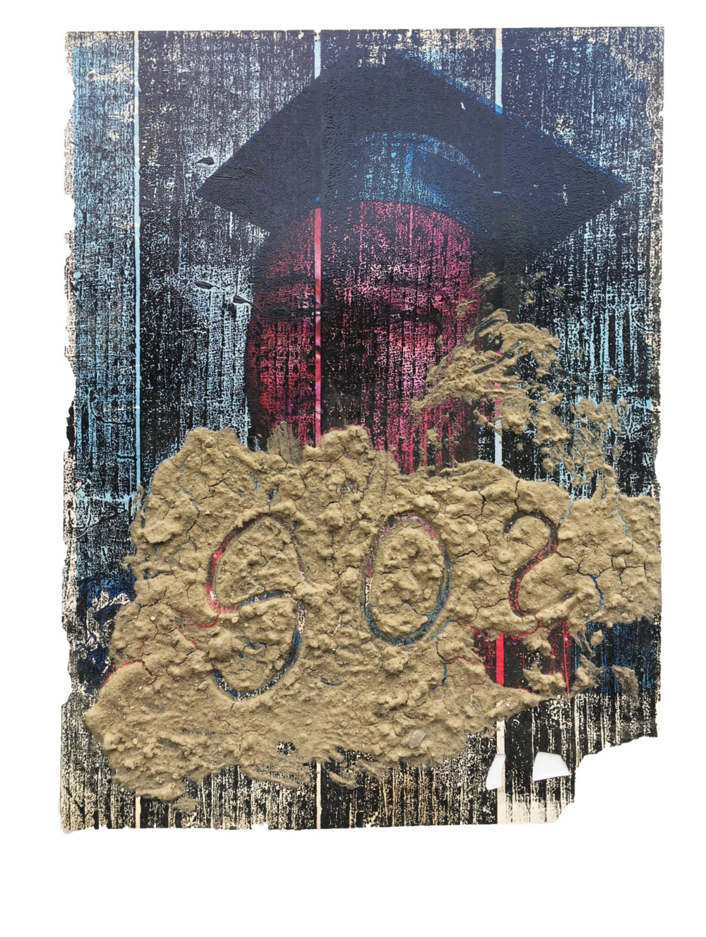 """Escapsism (SOS) , 2017, Epson transfer on woodblock print and dirt on erased Ebony page, 13"""" x 10"""""""