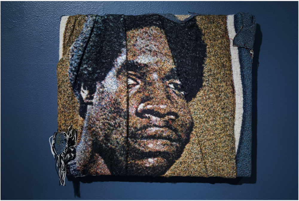 "Sportsman , 2016, Folded, distressed, stretched Jacquard tapestry (barbershop portrait), 15"" x 18"""