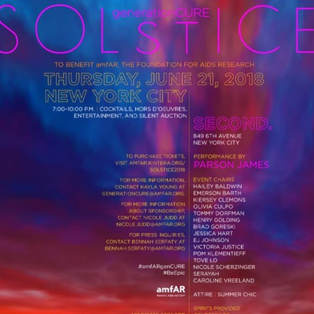 Come out tonight! To purchase tix- http://amfAR.kintera.org/solstice2018. #solstice #amfar #gencure #gencuresolstice #amfar2018
