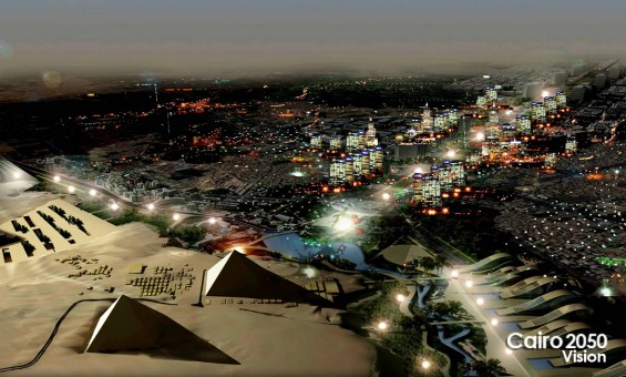 A rendering image showing the vision of Cairo 2050 near in Nazlet El-Semman