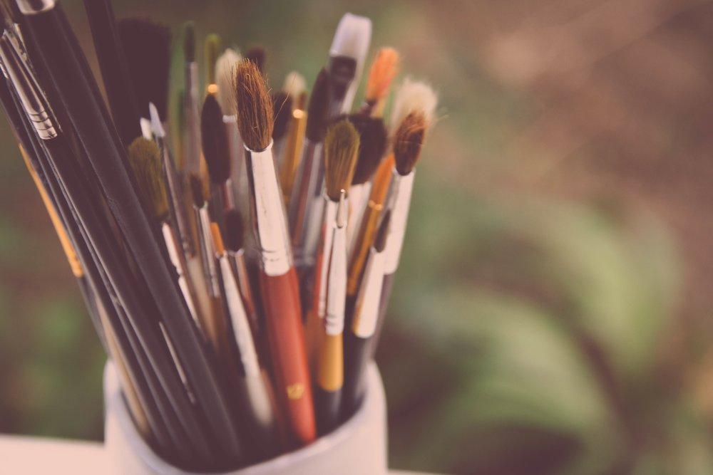 paint, artist, brushes, creative