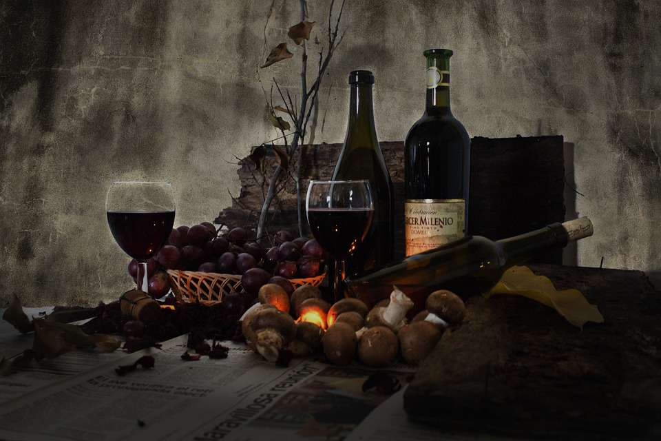 still life photography wine potatoes bottles glasses