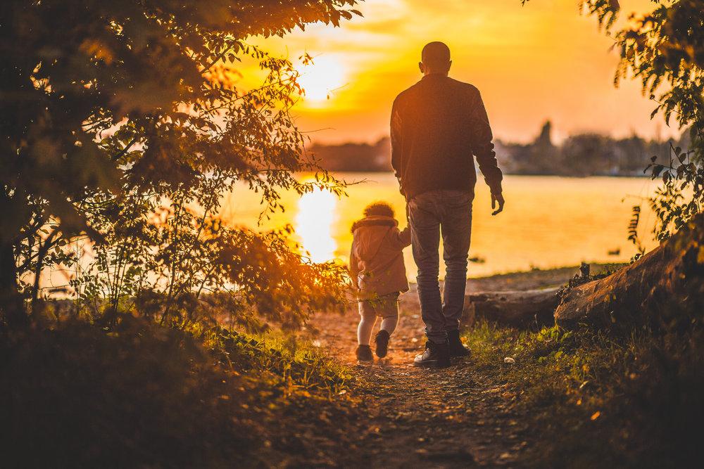 walking, sunset