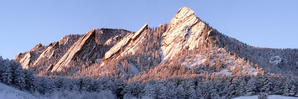 The Flatirons, rock formations near Boulder, Colorado.