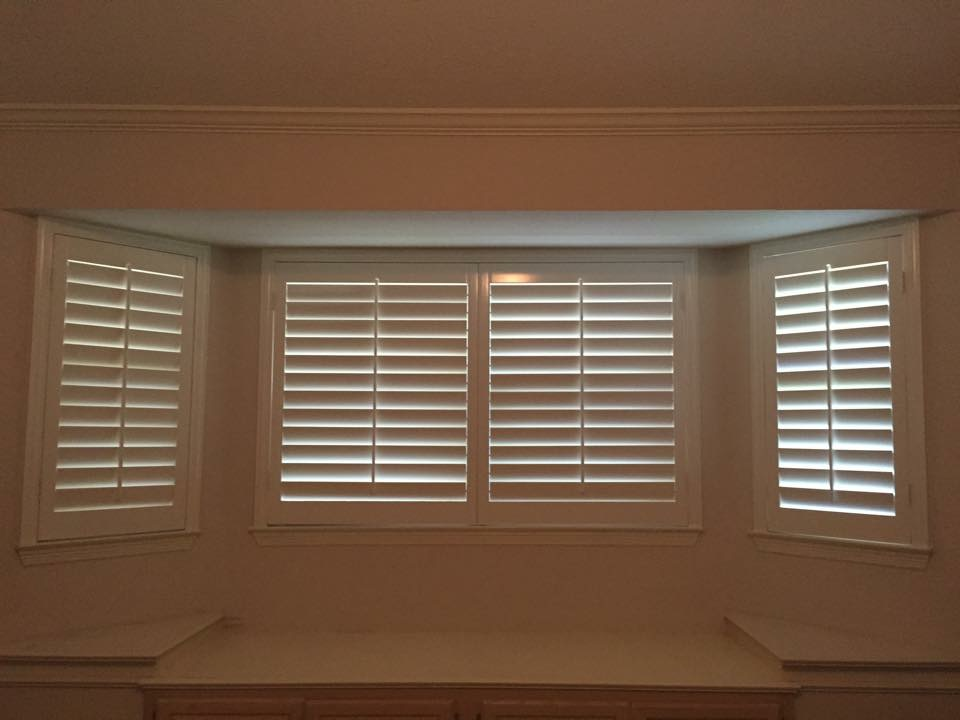 Shutters with center tilt rod - classic look of a shutter - can use the vertical center rod to open/close   - less expensive option