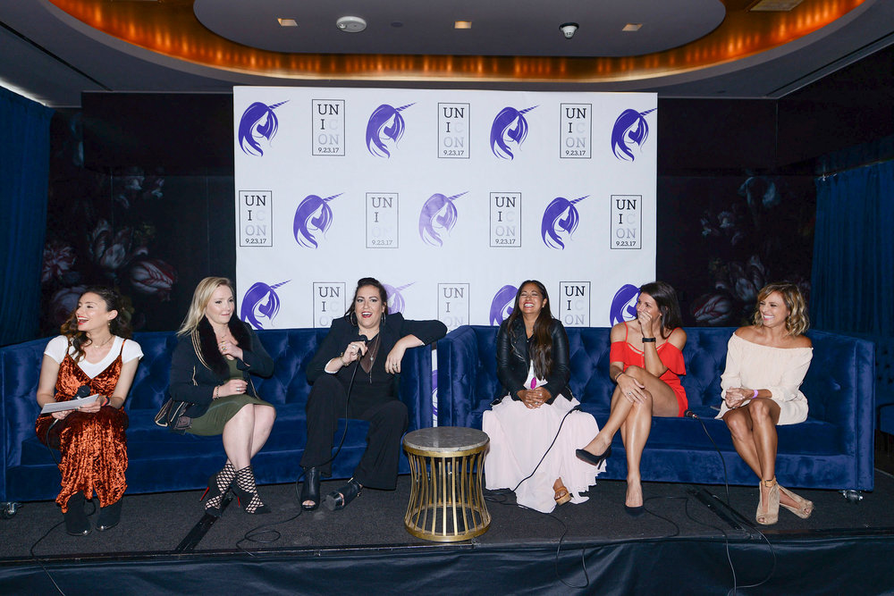 "Photo By Michael Bezjian | Panelists at UniCon Samantha Gutstadt, Nikki Lund, Tiffany Jenkins, Veena Crownhold, Meredith Masony, Christine Lakin share laughs during the ""Moms in a Digital World"" Panel"