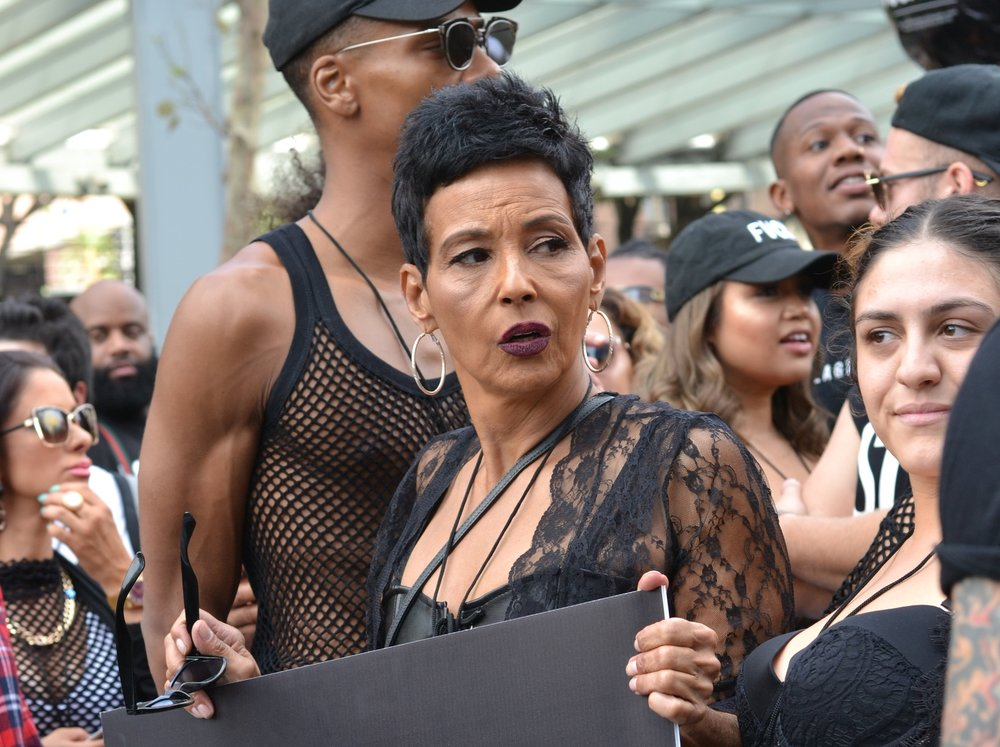 Amber Rose's Mom, Dorothy, stands at the front of the 3rd Annual SlutWalk in support of her daughter's movement on Sunday, Oct. 1, 2017.