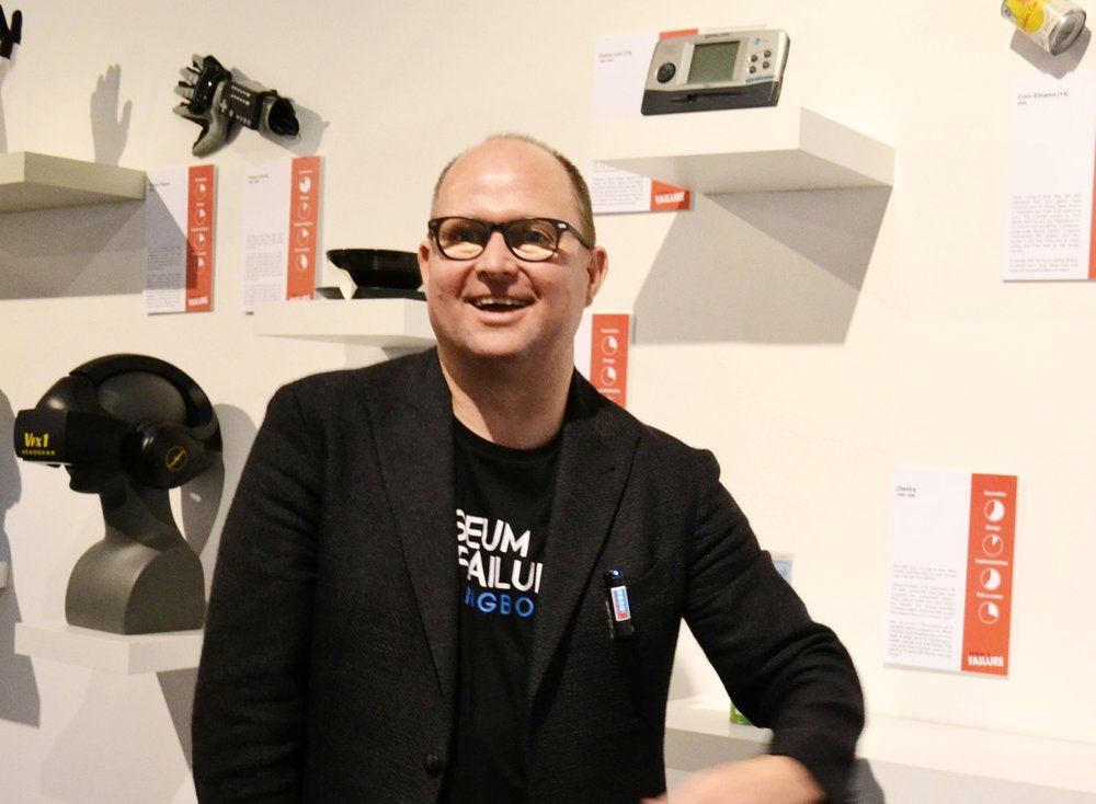 Dr. Samuel West explains different corporate failures at his recently opened Museum of Failure in Downtown Los Angeles' Art District.