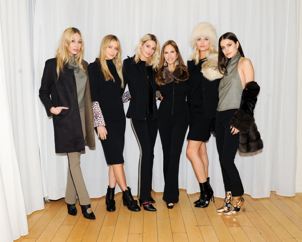 Nicole Frank, standing fourth from left launched her Fall/Winter 2017 collection on December 5, 2017 at the Mondrian Hotel in West Hollywood.