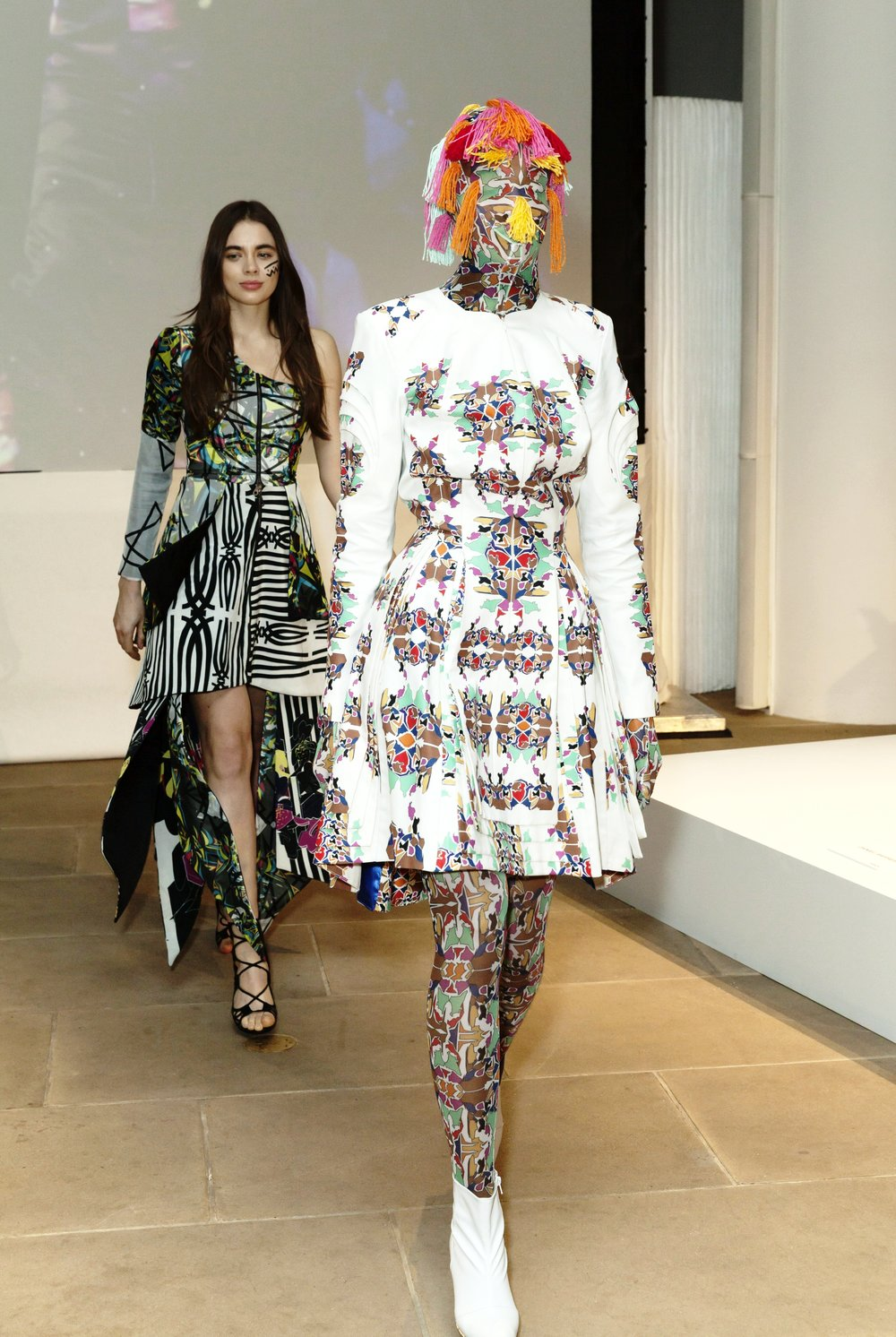 Models walk for Epson Digital Couture project presentation during 2017 fall New York Fashion week.