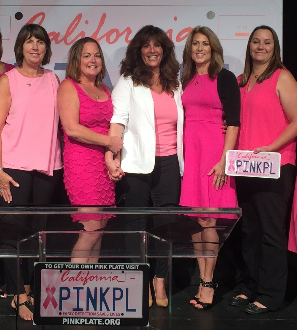 Pink Plate co-founders, Carla Kimball (center) and Survivor Sisters of Contra Costa County (L-R) Deborah Bordeau, Heather McCullough, Chere Rush and Heather Solari.  photo courtesy of pinkplate.org