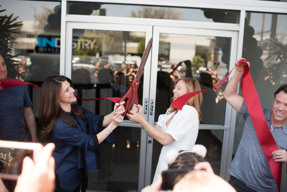 Mom duo Maia Suckle and Rhonda Notary celebrate the ribbon cutting ceremony for their new INDUSTRY Dance Studio in Sherman Oaks | Photo Provided by: Boutique Publicity