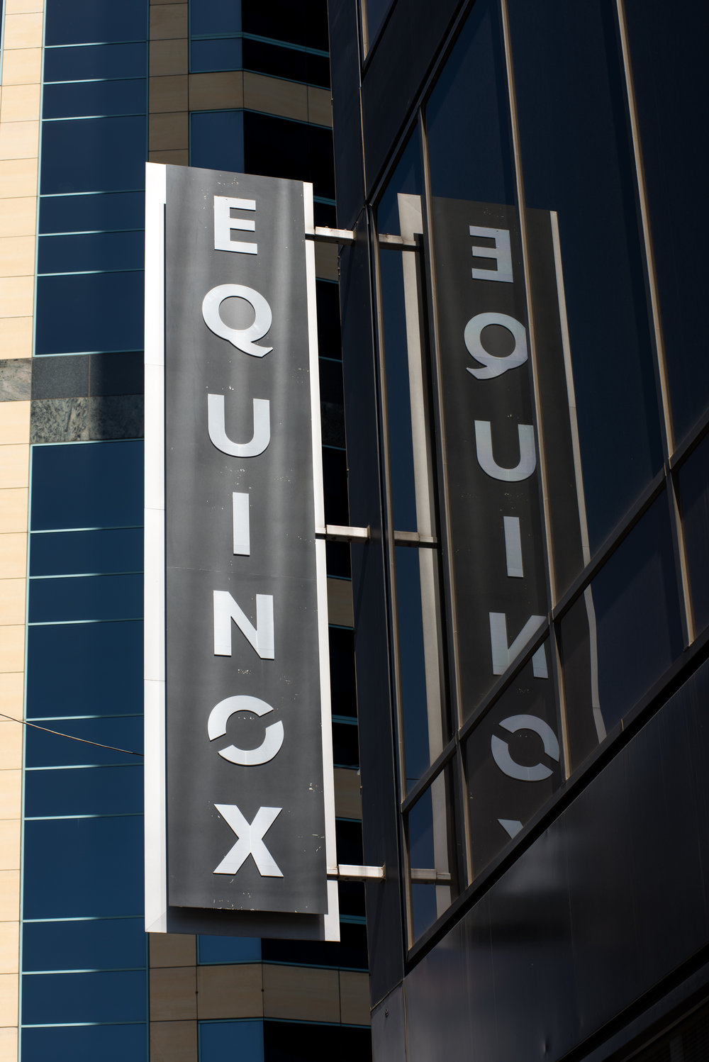 Equinox sign outside of a Equinox gym in Los Angeles. Equinox is a luxury gym that is headquartered in New York City.