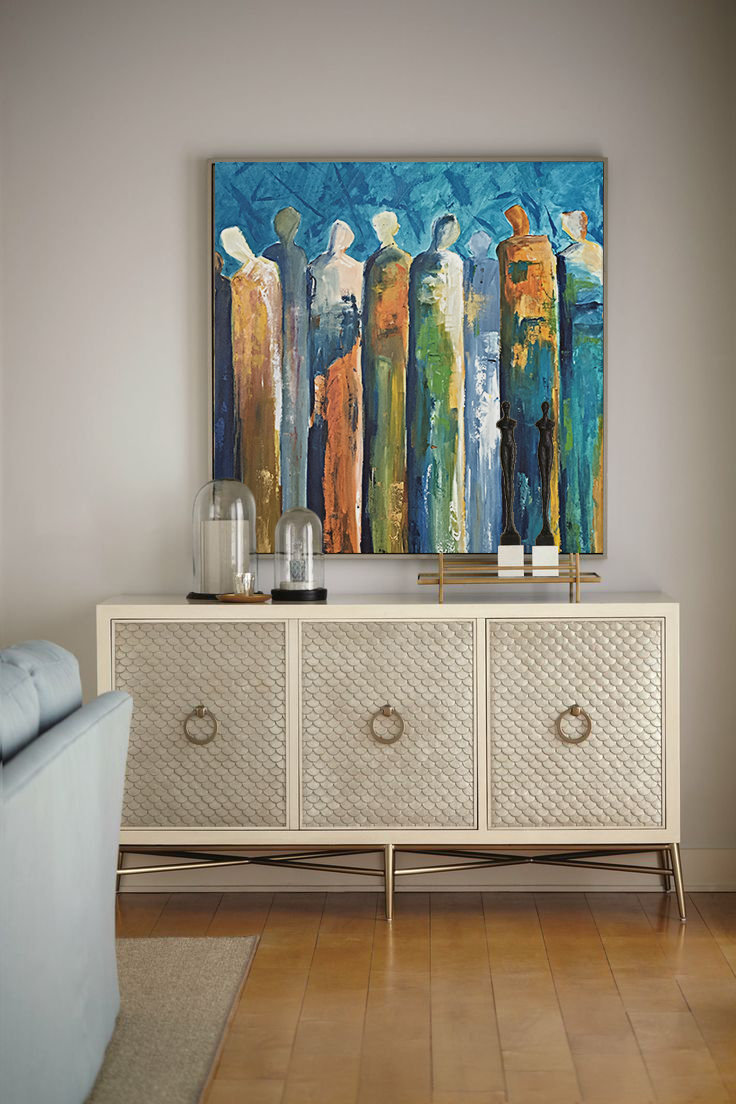 •Choose a couple of the boldest colors in your space and try to find a piece of artwork that features those colors in it.. You don't have to have something that matches perfectly.. Just by picking up colors in the room, you are emitting a message that the painting belongs to the room.•