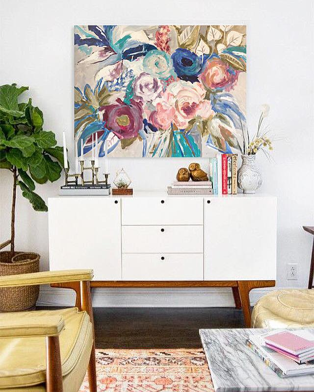 • Adding a floral artwork to your walls brings bloom to your interior and inspires the room color palette•