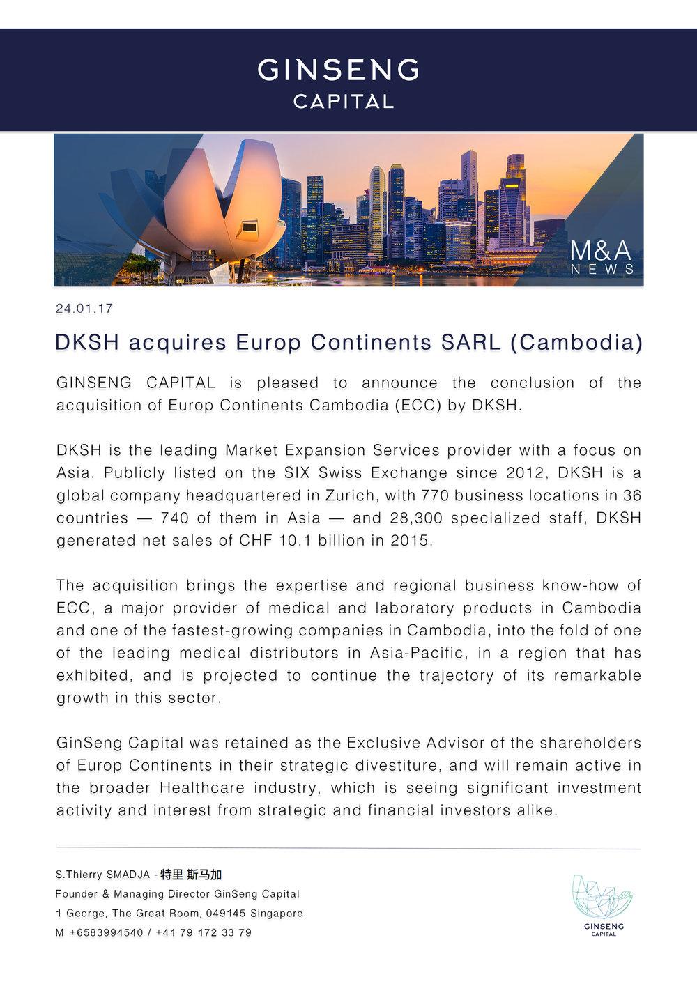 DKSH acquires Europ Continents SARL