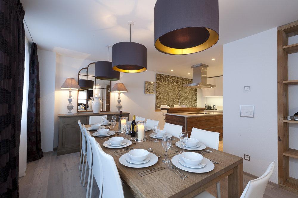 Spacious dining room at Browne's apartment