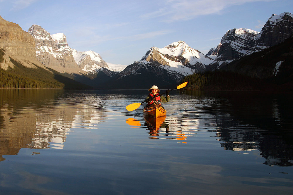 Kayaking in Lake Maligne