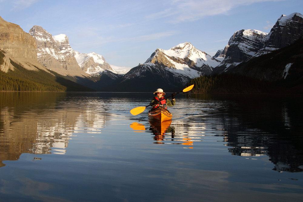 Kayaking in Lake Maligne