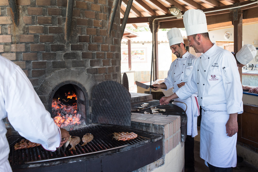The outdoor grill at the Hermitage delivers traditional cuisine