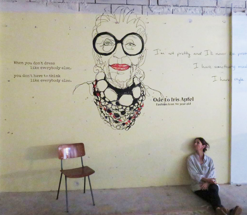 Pascale Guillou Portrait Artist Iris Apfel Mural