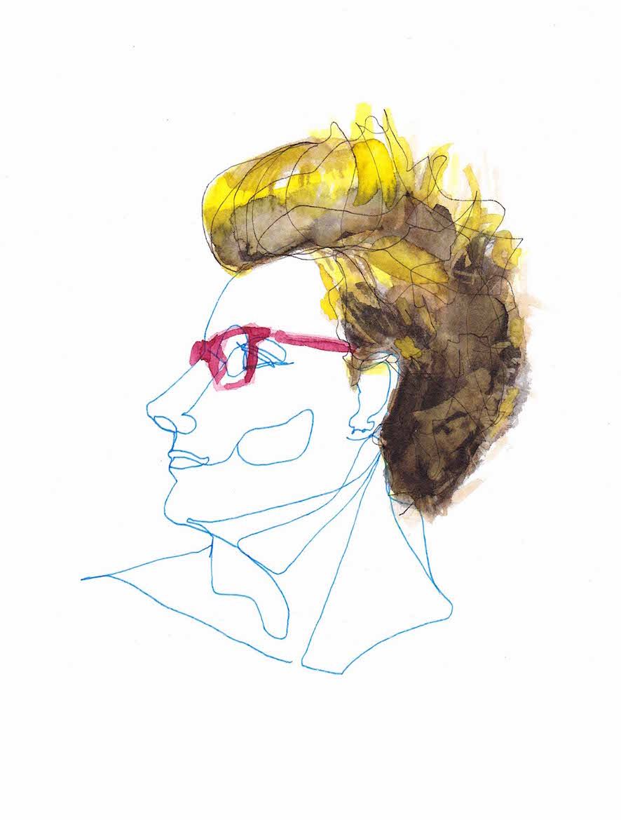 Blue Single Line and Watercolor Blond Portrait with Red Glasses ©Pascale Guillou