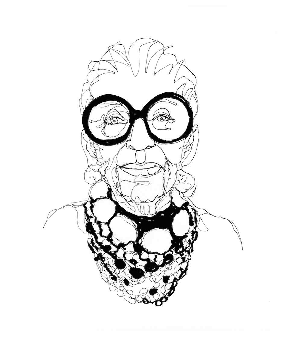 Fashion Icone Iris Apfel Black Single Line Portrait ©Pascale Guillou